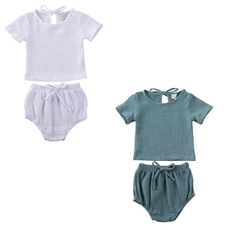 pudcoco Hot Summer Infant bambini Plain Clothes set della ragazza del neonato CottonLinen Tops T-shirt + short pantaloni abiti casual 2PCS elastico