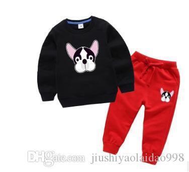 AAAsweater 2020 del cane pattern a testa ragazzi vestiti di autunno medie e piccole per bambini impostato l'insieme dei vestiti a due pezzi dei bambini
