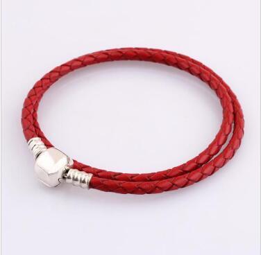 Al por mayor de moda para mujer-925 Doble Capa de cuero de la pulsera ROJO Fit Pandora encanta granos joyería de los hombres brazalete con la caja original