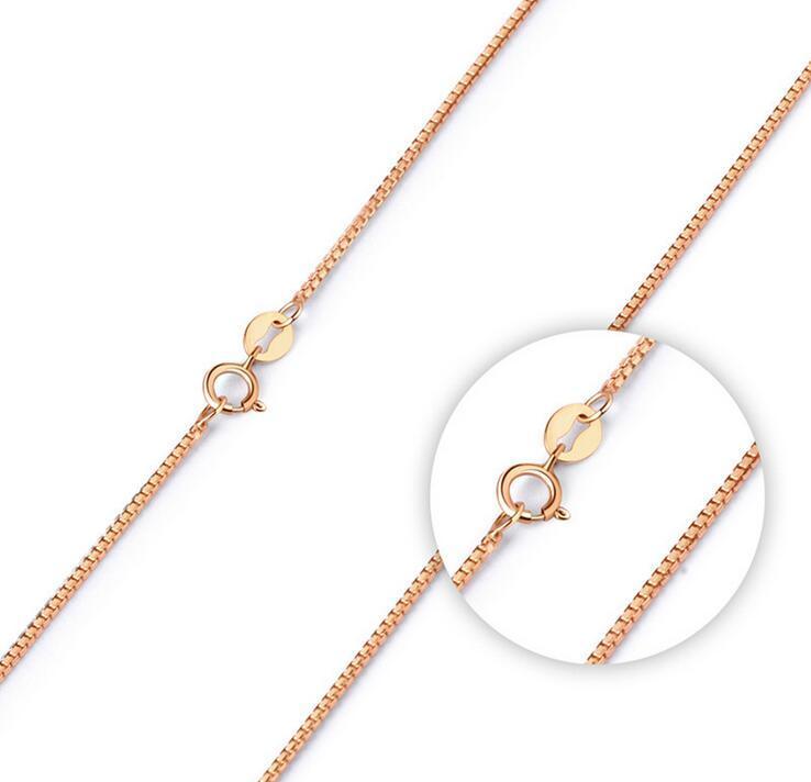 18 45CM 1MM روز الذهب الإطار سلسلة القلائد أزياء الفضة مطلي وصلة سلاسل قلادة مجوهرات DIY