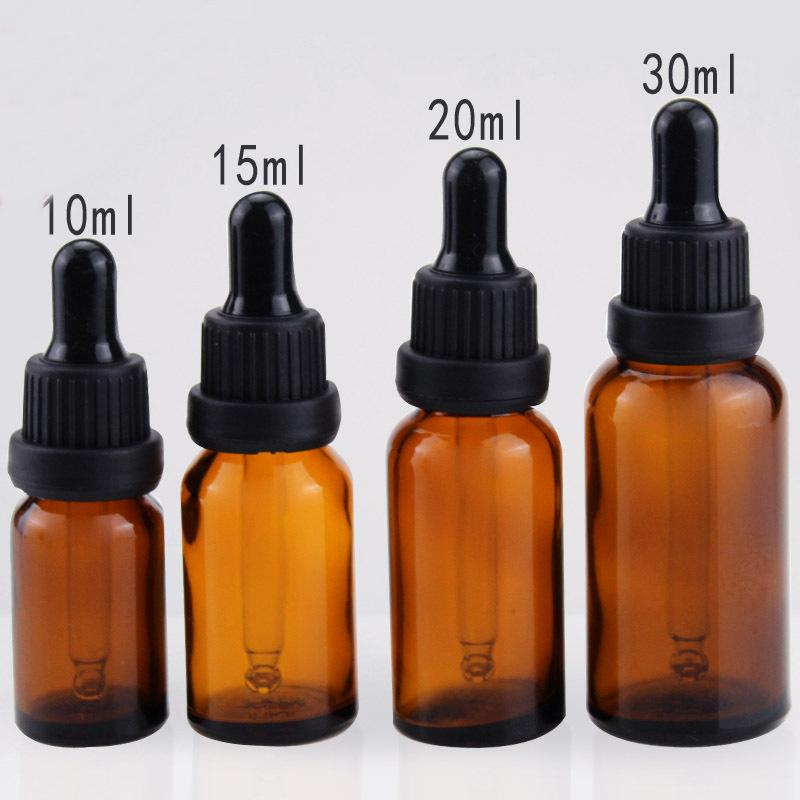 Wyprzedaż 10ml 15ml 20 ml 30 ml 50 ml 100 ml bursztynowe szklane butelki szklane szkło E Butelka cieczy z czarną czapką śrubową 100ml szklane fiolki