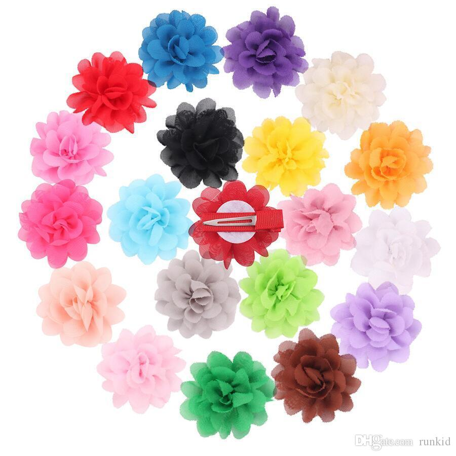 2020 clips del bebé horquillas del pelo de las muchachas de la gasa de la flor con el clip sombreros Barrette del pelo de los niños Accesorios niños