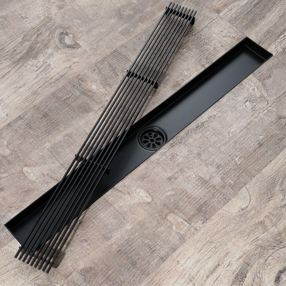 주방 304 스테인레스 스틸 바닥 하수구 블랙 욕실 샤워 드레 이너 60cm 청소 여과기 긴 하수구의 30cm