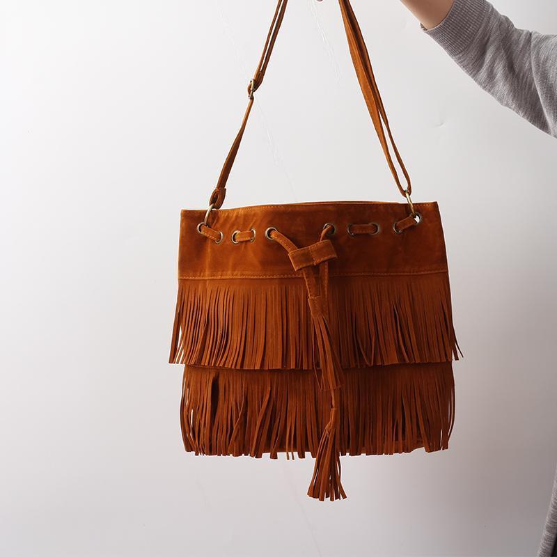 مصمم للمرأة حقيبة حقائب حمل أكثر من الكتف CROSSBODY الرافعة الصيف الشرابة محفظة من جلد الغزال هامش كبير كول أنثى بولسا مصمم للدراجات النارية