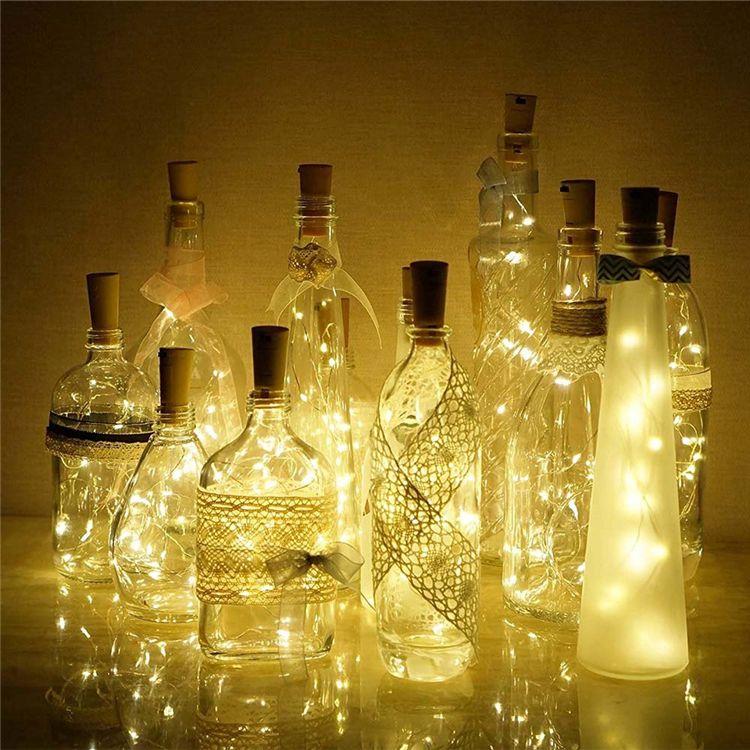 핫 1M 10LED 2M 20LED 램프 코르크 모양의 병 마개 빛 유리 와인 LED 구리 와이어 문자열 조명 크리스마스 파티 결혼식