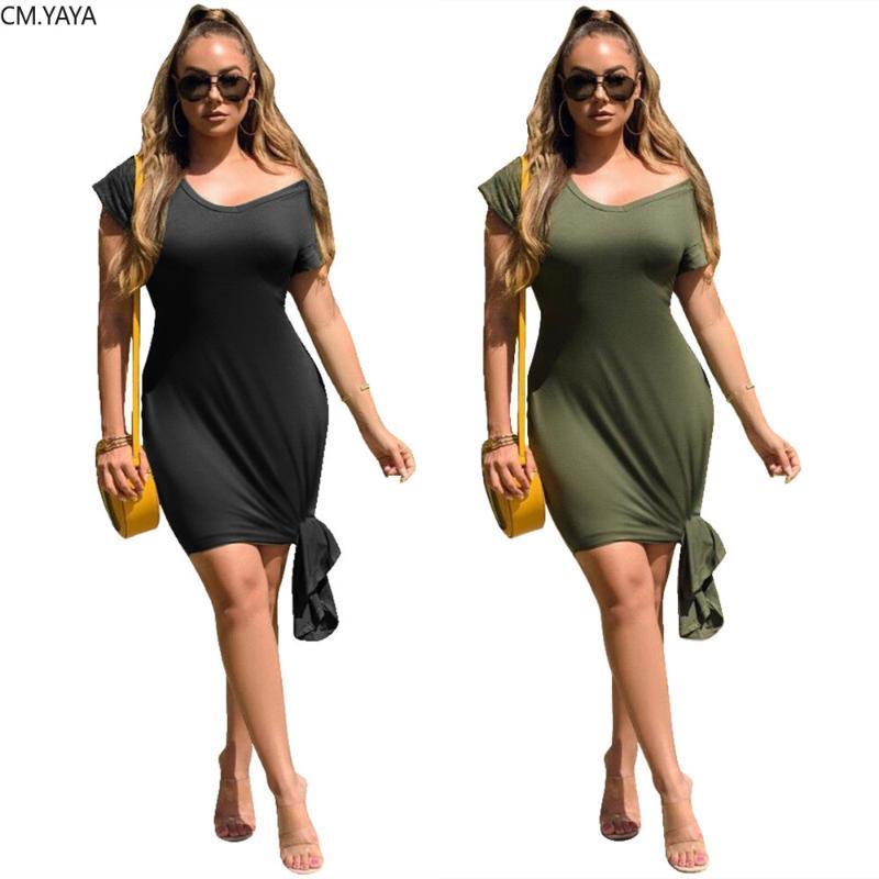 2020 Frauen-Sommer-Minikleid Art und Weise V-Ausschnitt schnüren sich oben Unregelmäßige Bodycon Verband-Partei-Nachtclub-Straße Kleider Vestidos GL6344