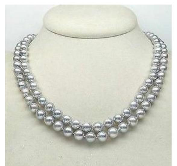Doubble Strands 9-10mm South Sea Silver Grey Round Pearl Necklace 18 Inch 19inch S925 Silver Clasp