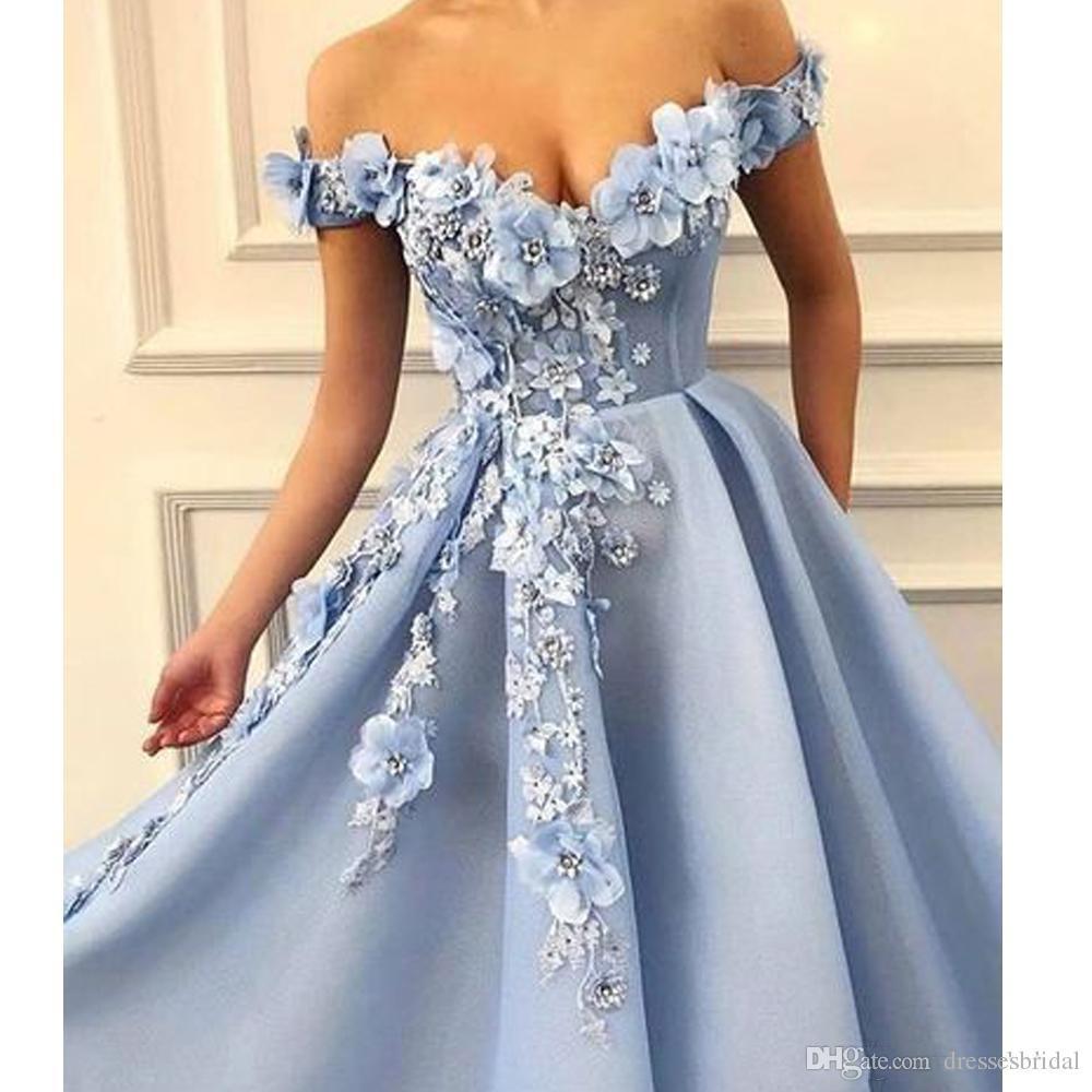 Robes de bal designer plus la taille 2019 sur l'épaule dentelle fleurs faites à la main appliques de dentelle douce 16 robe de mariée robes de soirée