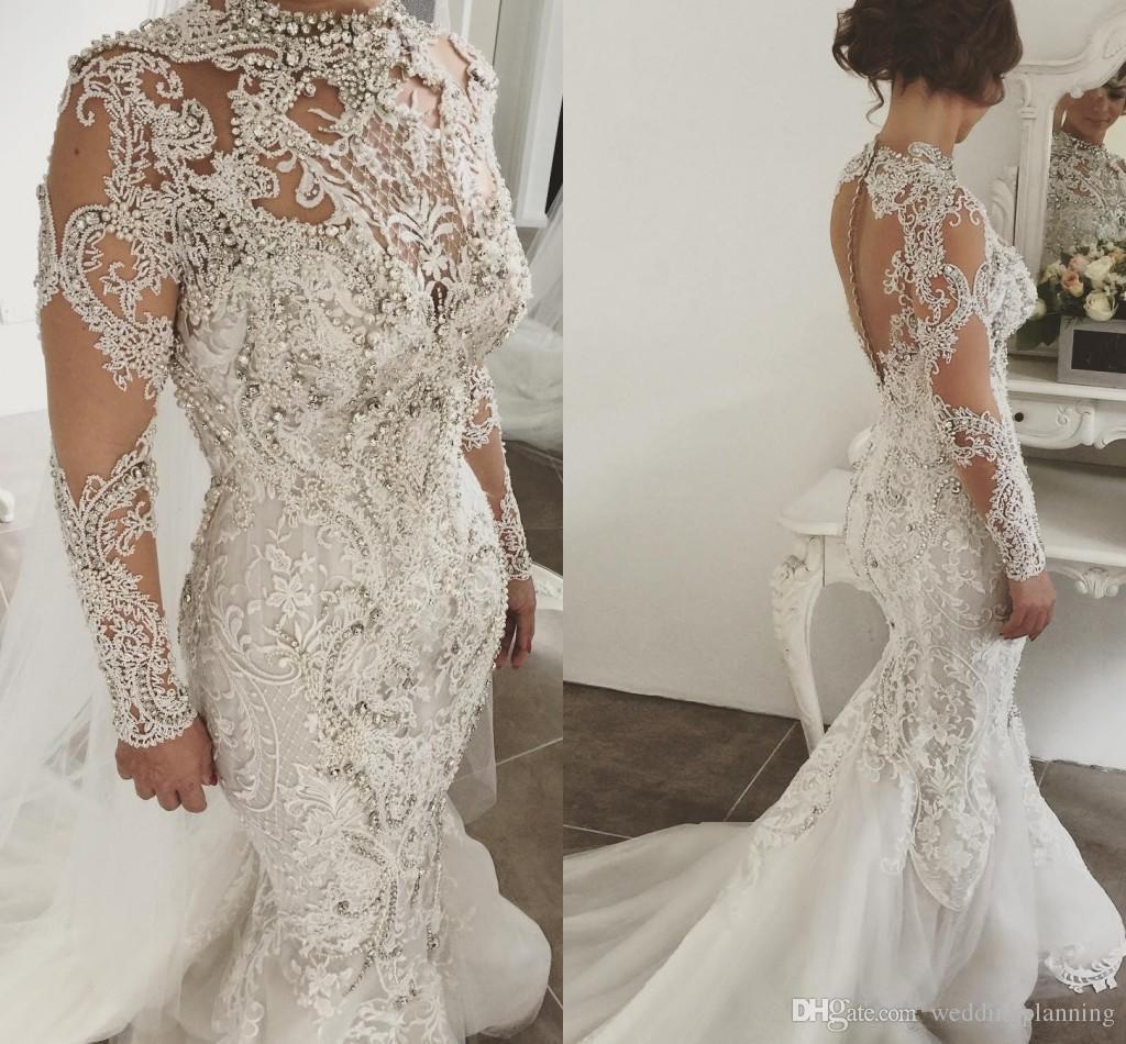 2019 Lujo completo de encaje túnica de matrimonio Mangas largas Sirena Vestidos de novia Cuello alto Apliques Cristal Arabia Saudita Árabe Vestidos de novia Tren