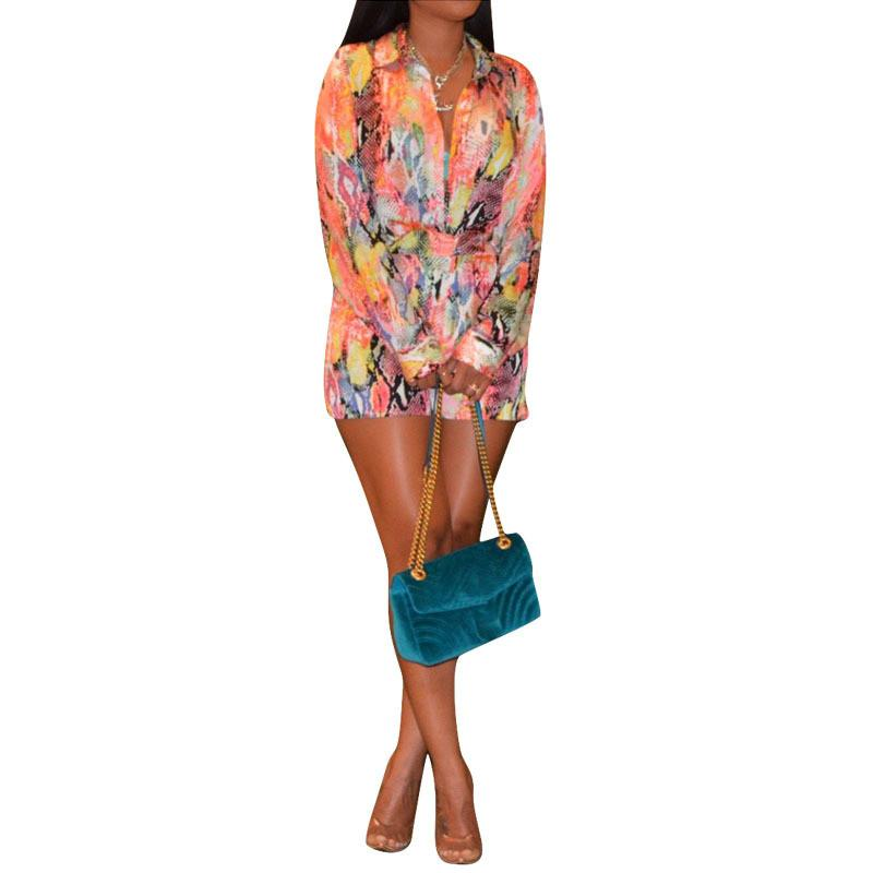 2019 New Long Sleeve Print Rompers Women Sexydeep V-Neck Casual Jumpsuit Loose Wide Leg Overalls Long Playsuit