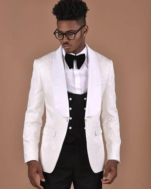 Модное One Button Groomsmen шаль лацкане жениха смокинги Мужские костюмы Свадебные / выпускной вечер / ужин Шафер Blazer (куртка + штаны + Tie + Vest) 671