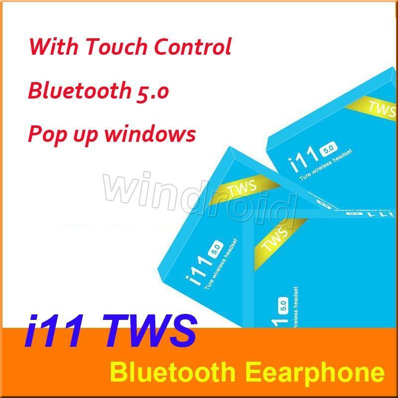 I11은 무선 헤드폰 스마트 폰 파란색 상자 5.0 진짜야 스테레오 이어폰을 터치 제어 SIRI 무선 헤드셋 이어폰을 블루투스 TWS