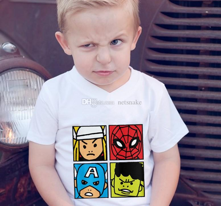2019 super hero printed marvel animated movie character white short-sleeved cotton T-shirt summer wear fabric comfortable practical for baby