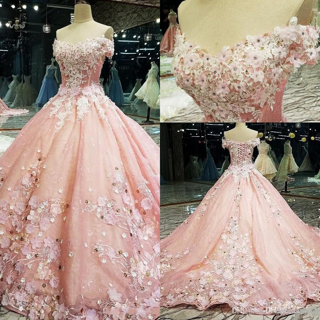 2020 New Sexy New Pink Prom Dresses Off Shoulder Lace Appliques With Flowers Crystal Beads Ball Gown Formal Party Dress Evening Gowns Wear