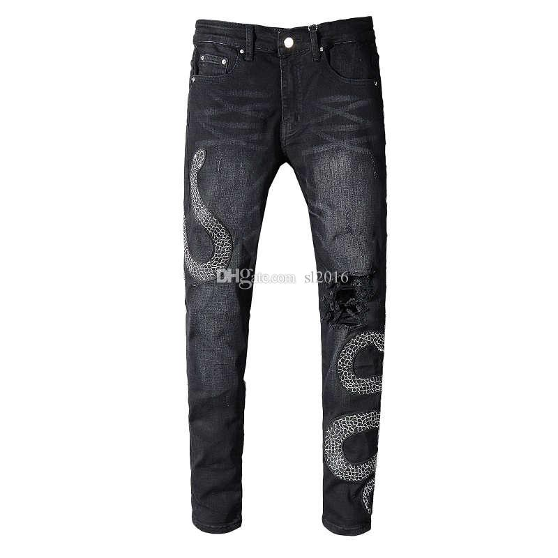 Italy Style Men's Distressed Embroidery Snakes Pants Broken Patches Washed Black Skinny Robin Jeans For Men Slim Trousers Plus size 28-42