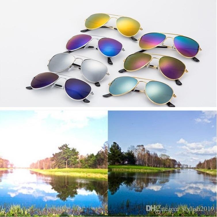 حار جديد للأطفال نظارات شمسية الرجعية الضفدع مرآة النظارات الشمسية النظارات 3024 الأزياء الجملة WCW333
