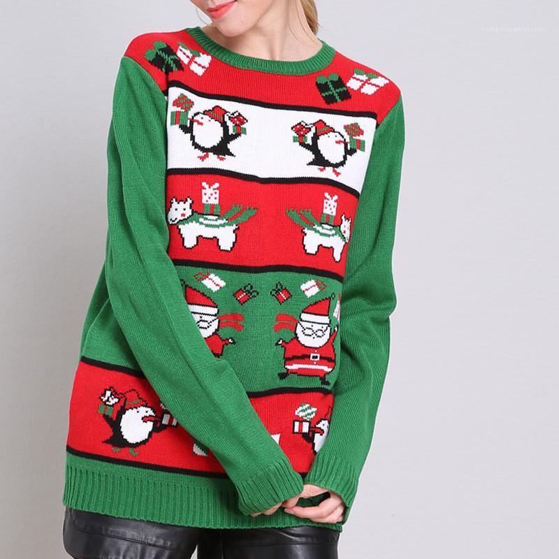 O Neck sciolti signore maglioni hanno stampato casual Plus Size pullover Abbigliamento Donna Natale maglioni pesanti a maniche lunghe