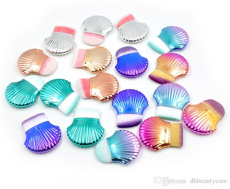 Colorido shell solo cepillo de la fundación plana / Ronda / oblicuo Cabeza Powder Blush de limpieza cepillos cepillo de maquillaje Herramienta