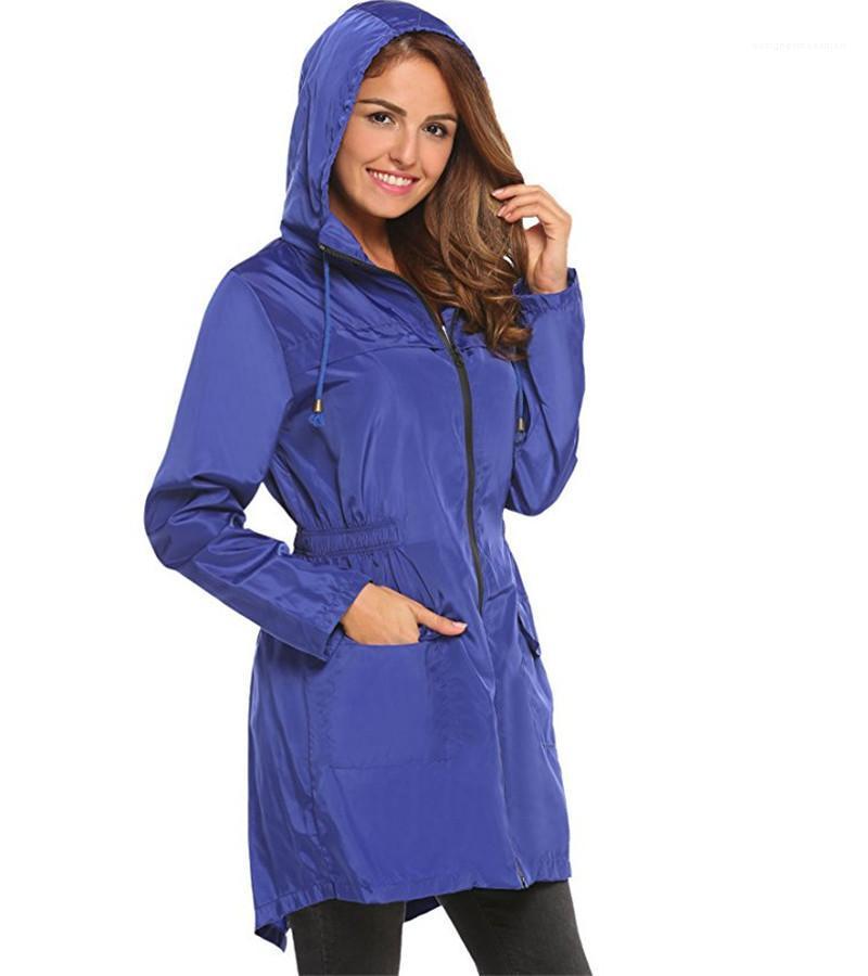 Trench Mode solide avec fermeture éclair et femmes de poche Veste Designer femme Tissu élastique avec cordon de serrage capuche taille