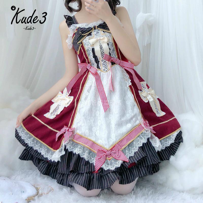 Women Classic Lolita Dress Sweet Cute Ruffle Dress Anime Cosplay Costume Dresses
