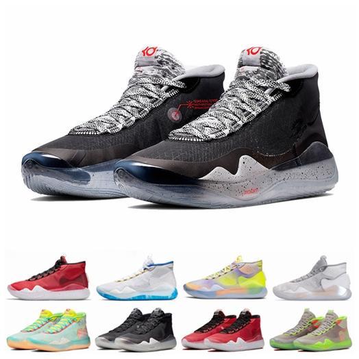 2019 Erkek Basketbol Ayakkabı 12 11 Eybl 90s Kid Warriors Ev Kurt Gri Uuiversity Kırmızı Finalleri Kevin Durant 12s Spor Sneakers Eğitmenler 7-12 KD