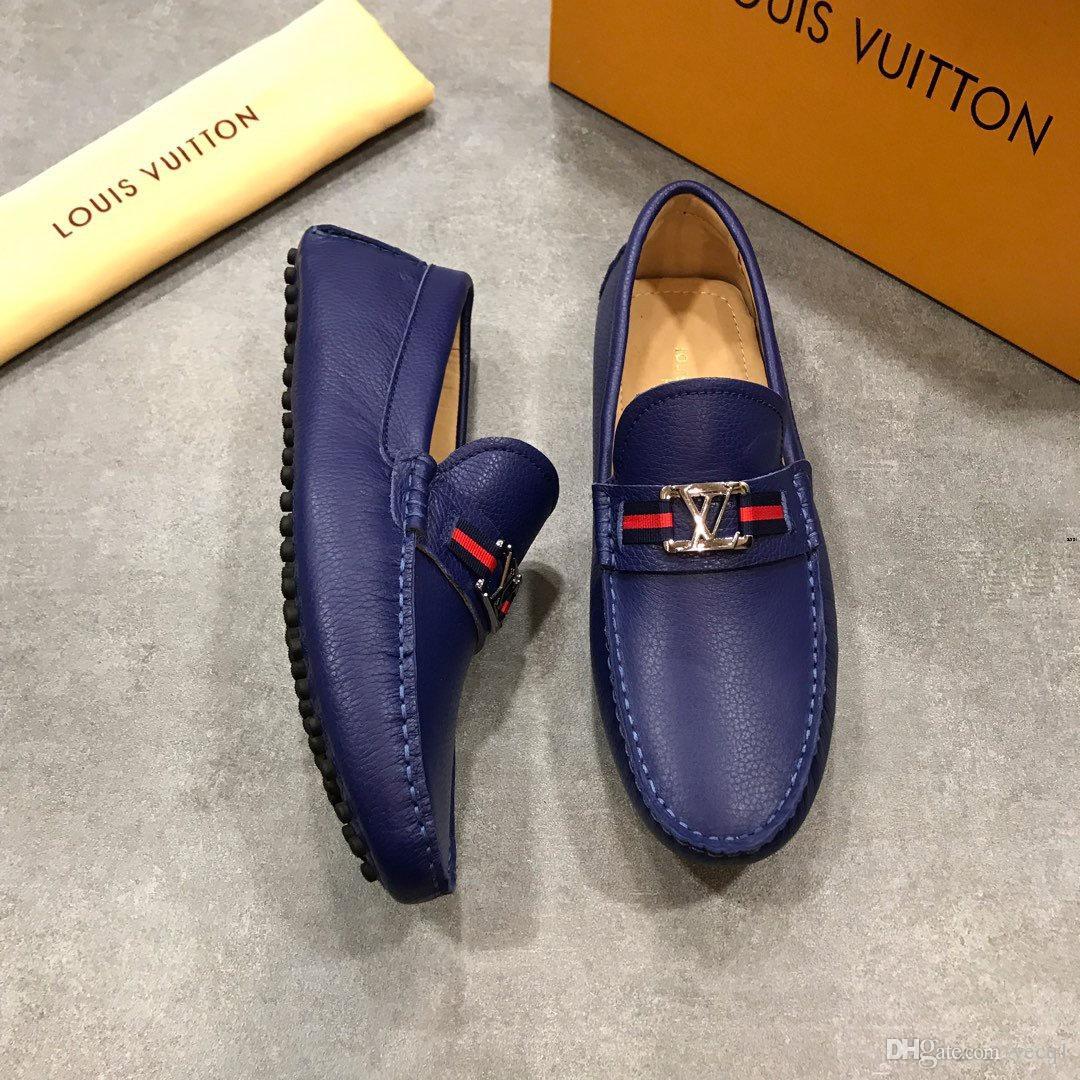 Marque Hommes Mocassins Chaussures De Course De Mode Pour Hommes Cuir Artificiel Chaussures Porter Des Hommes Confortables Chaussures De Marche noir blanc bleu