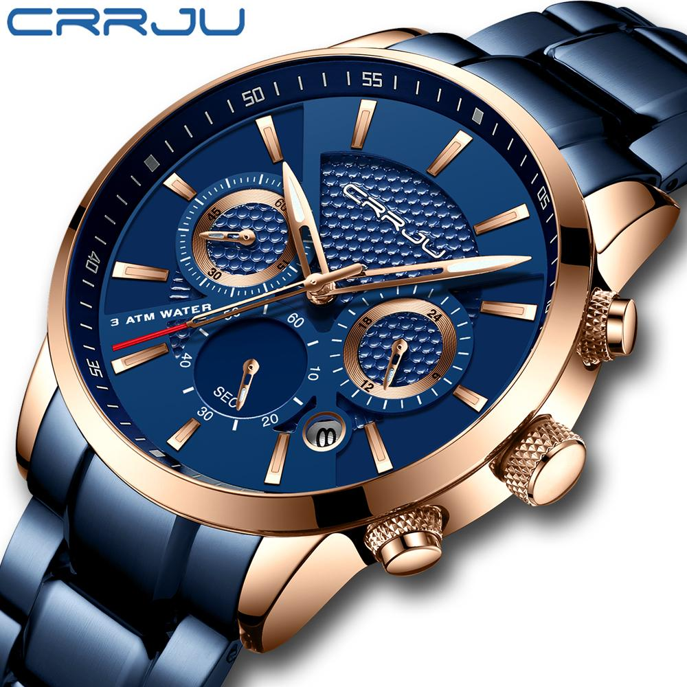 CRRJU 핫 세일 비즈니스 남성 시계 패션 블루 크로노 그래프 Stianless 스틸 시계 캐주얼 방수 시계 relogio의 masculino