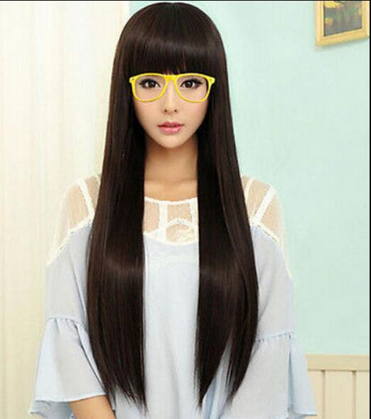 WIG LL 1103 +++ parrucche Fashion New Womens Long Straight Full Hair Girls Cosplay Party Pelucas Negro / Marrón para mujeres pelucas