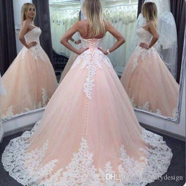 Бальное платье Vintage Pink Тюль кружево Аппликация Quinceanera платья Милая Длинные Сладкие 16 выпускного вечера партии мантий Vestidos де 15 Anos