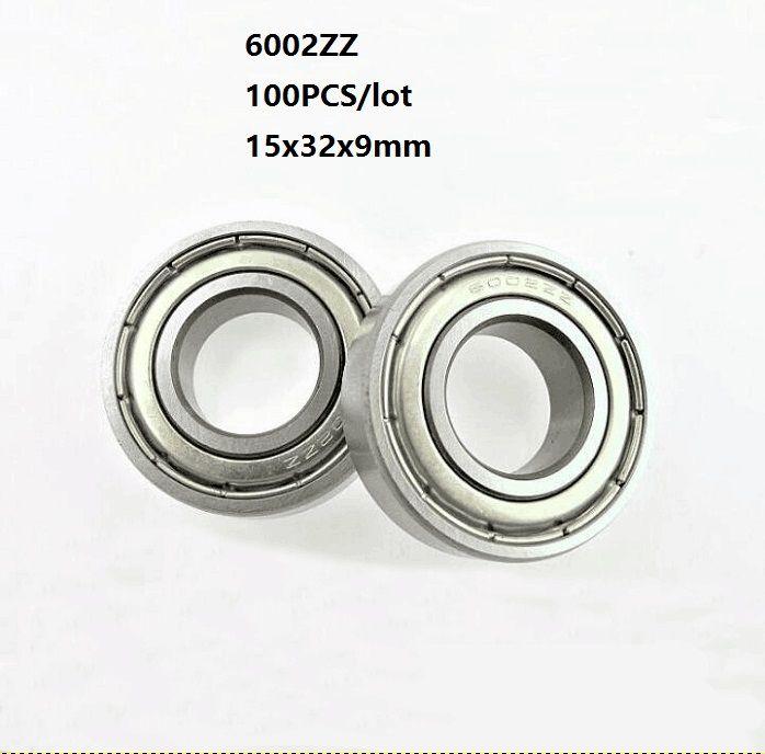 100 pçs / lote 6002ZZ rolamento 6002Z 6002 Z ZZ 15 * 32 * 9mm blindado rolamento de esferas de sulco profundo 15x32x9mm