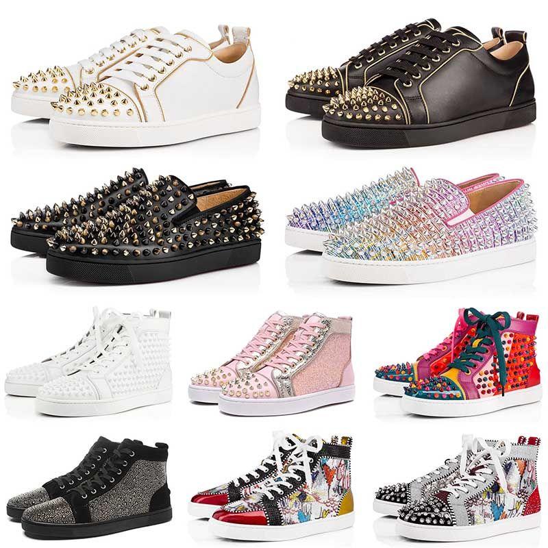 ACE Designer Fashion Designer Studded Spikes Flats Обувь Красный Нижний Повседневная Обувь Мужчины Женщины Роскошные Натуральные Кожаные кроссовки Кроссовки