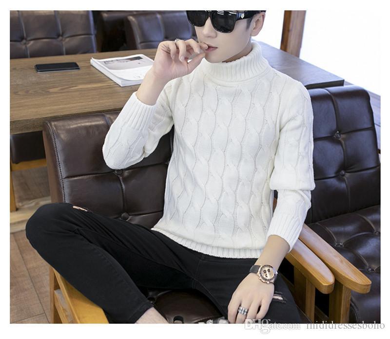 Роскошные мужские толстый свитер моды сплошной цвет пуловер Bottom Рубашка зима конструктора Mens свитер