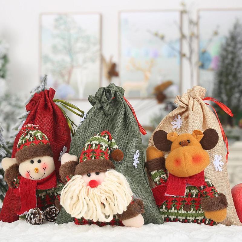 İyi Noeller Keten İpli Elma Çanta 3D Tasarım Doll Çocuk Şeker Hediye Çanta Ev Partisi Dekorasyon Aksesuarları