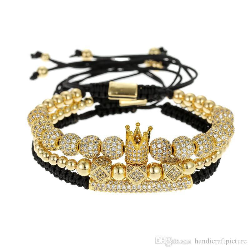 جديد فاخر مصمم مجوهرات الرجال أساور الهيب هوب سوار مع تاج الكرة الرجعية pouplar الأزياء القديمة فاسق الخرز أساور