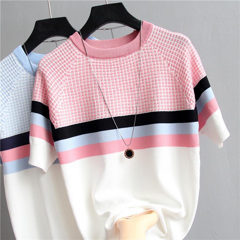 shintimes tela escocesa mujeres de la camiseta de rayas camiseta de punto de algodón de Corea 2020 de la camiseta ropa de mujer Camiseta Femme Camisetas Mujer Y200412