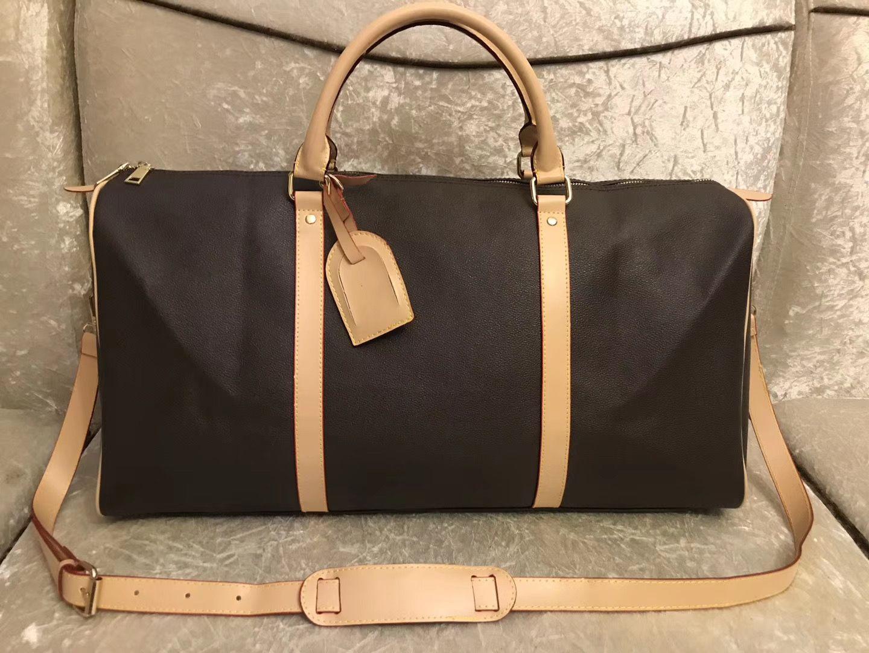 새로운 남자 더플 가방 여성 여행 가방 핸드 짐 pu 가죽 핸드백 대형 크로스 바디 가방 토트 55cm 배낭 가방