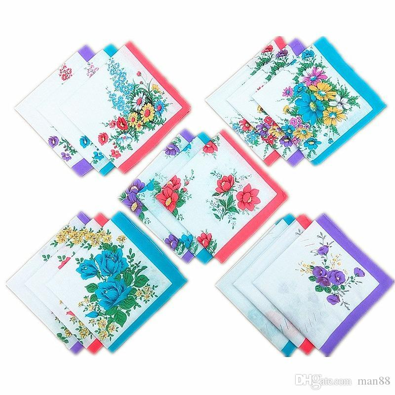 12PCS 28 * 28cm de las mujeres pañuelo de algodón Señora pañuelo blanco Imprimir