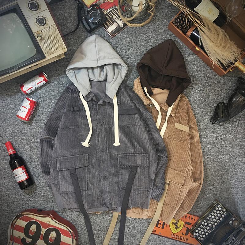 Pana otoño chaqueta de los hombres de moda retro del color del golpe casual de algodón con capucha chaqueta de la capa del hombre Streetwear salvajes sueltos Tooling Hombres