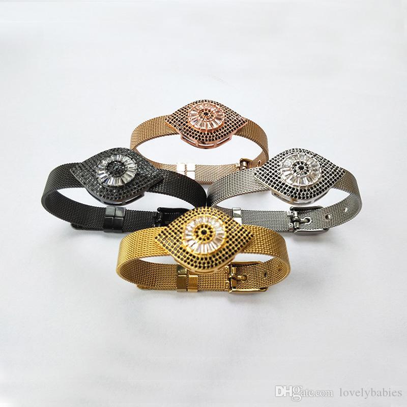 Moda Eye Beads Inspirado Jóias pulseira de relógio pulseira, preto CZ Micro Pave felizmente Charme Talão Pulseira BG255