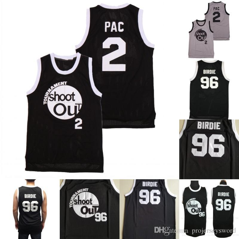 # 2 PAC # 96 Birdie Turnier Shooting Basketball Jersey über dem Rand Uniform Film Black Trikots Großhandel Mischungsauftrag Schneller Versand