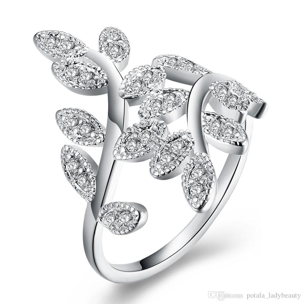 Anelli fascia alla moda argento placcato ramoscello di ulivo modello polo impostazione più bianco zircone S925 anello in argento regalo gioielli unici POTALA1013