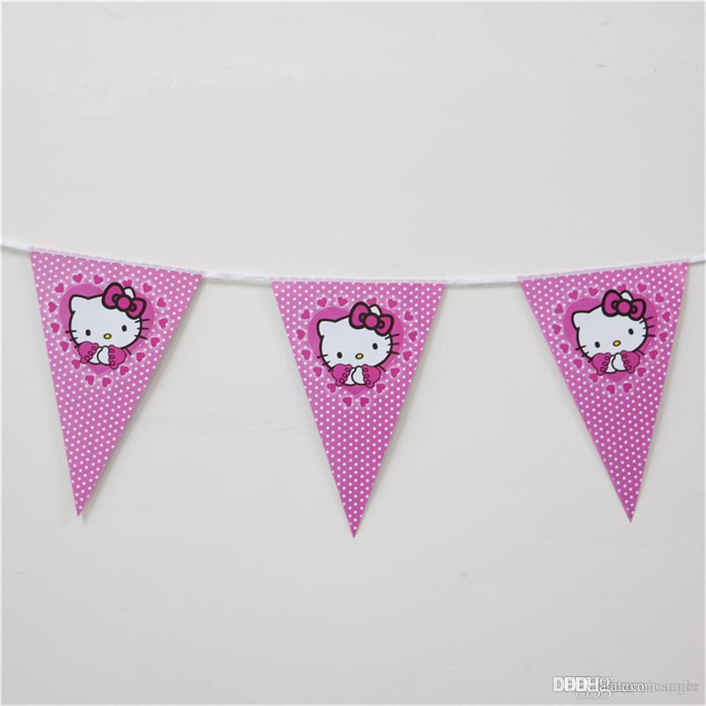 Wholesale- 2.5 M cartoon cat pennants paper flag birthday theme party decoration banner bunting 1set banner including 10 flags