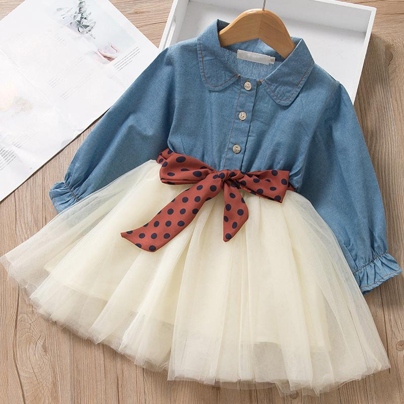 Baby Kids Lace Ruffles Patchwork Dress Princess Long Sleeve Hollow Dress Toddler Outfits Transer