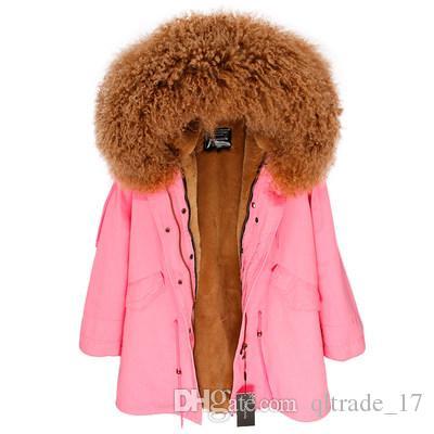 heißer verkauf INS karamell mongolei schafpelz hoody trim MAOMAOKONG Marke weibliche pelzmäntel karamell kaninchen pelzbesatz rosa lange parkas