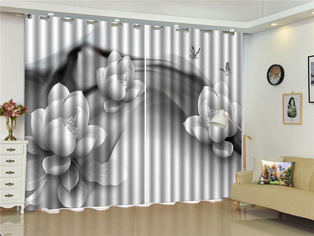 Großhandel Vorhang Weiße Blumen, Schmetterlinge, Fliegen 3D Blume Vorhänge  Wohnzimmer Schlafzimmer Schöne Praktische Schatten Vorhänge Von Yunlin188,  ...