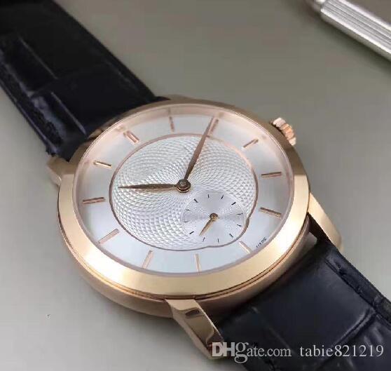 Tabie821219 ofertas 2020 relógio novo ouro rosa 18K caixa de aço mostrador esqueleto pulseira de couro 5 cores prémio 38 milímetros relógio