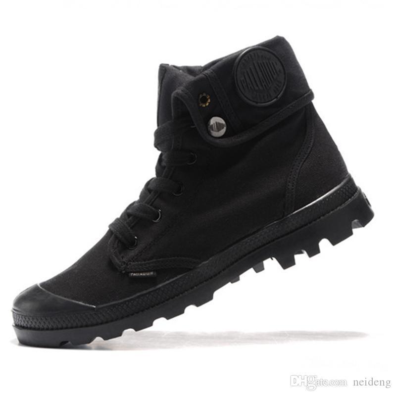Hot venda- Moda Canvas calçados casuais Palladium alta-top militar do exército Botas Outdoor Anti-Slip botas Utility Ferramental Running Shoes