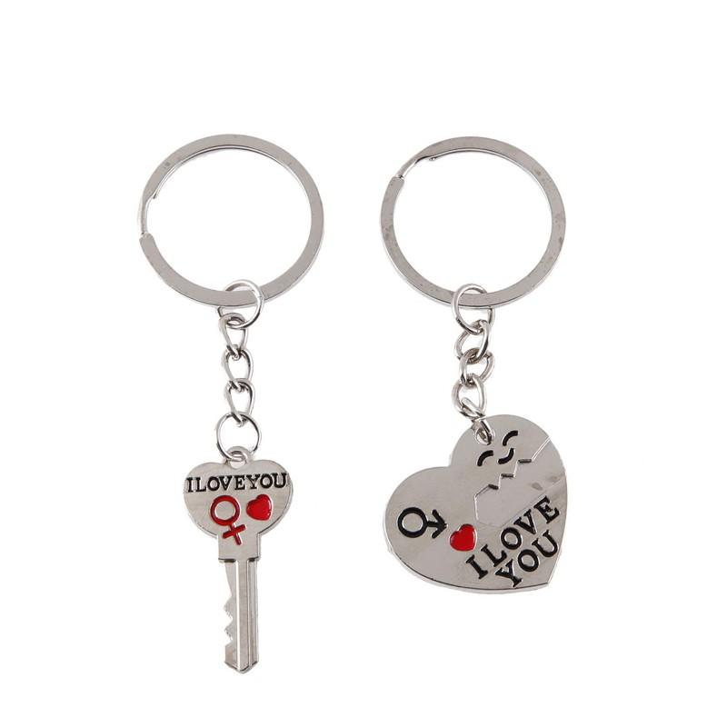 Couple Letter Keychain Heart Key Ring Silvery Lovers Love Key Chain Souvenirs Valentine's Day Jewelry Gifts