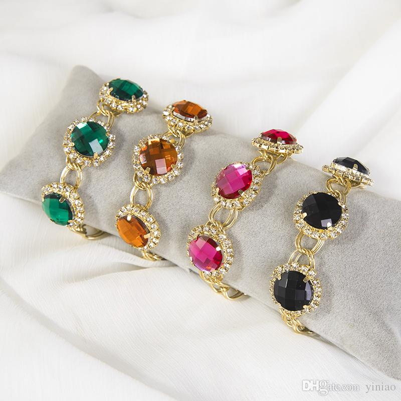 Luxury Crystal Charm Bracelets For Women Gold Chain Color Bileklik Bracelet&Bangle Jewelry Europe American Style Bridal Jewelry