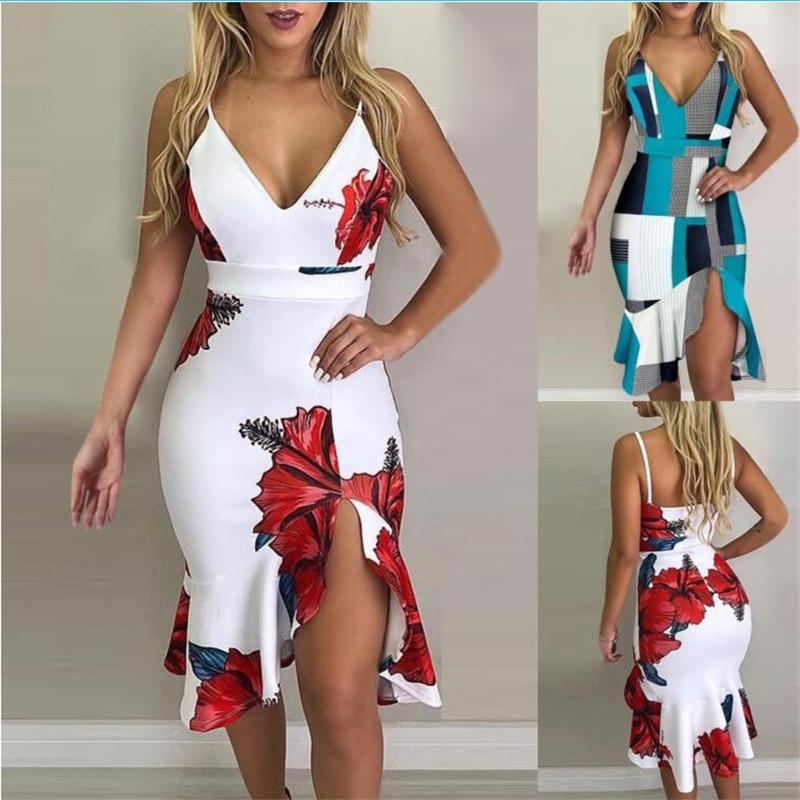 Çiçek Baskılı Bayan Elbise Yaz Yaka Boyun Lüks Yeni Tasarımcı Kadınlar Seksi Günlük Elbiseler Bayan Giyim